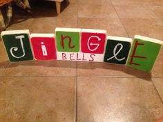 Christmas and fall hand painted block sign Thanksgiving give thanks & jingle bells