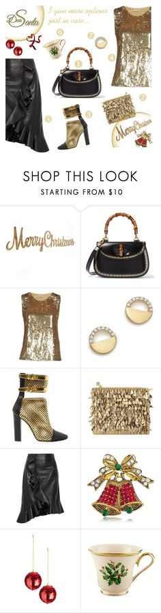 """#PolyPresents: Wish List"" by sara-cdth ❤ liked on Polyvore featuring Gucci, P.A.R.O.S.H., Bloomingdale's, Balmain, Forest of Chintz, Lanvin, BERRICLE, Lenox, contestentry and polyPresents"