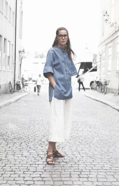 culotte + white + tunic + denim + elwin
