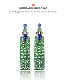 Corrado Giuspino earrings with carved jade, diamonds, emeralds and sapphires