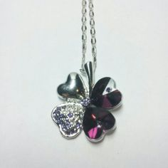 Purple Crystal Four Leaf Clover Necklace