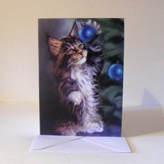 Cat Christmas cards  pack 5 by pastelesta on Etsy, £6.00