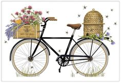 Mary Lake Thompson Flour Sack Towel Designed Bike with Beehive, Honey Flour Sack Towels, Tea Towels, Vintage Embroidery, Embroidery Designs, Hand Embroidery, Bicycle Pictures, Bicycle Cards, Bicycle Basket, Cross Stitch Pictures