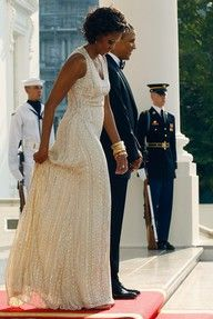 President Barack Obama and First Lady Michelle Obama./wow at that dress Michelle Obama Fashion, Barack And Michelle, Naeem Khan, Joe Biden, Black Is Beautiful, Beautiful People, Beautiful Family, Simply Beautiful, Barack Obama Family