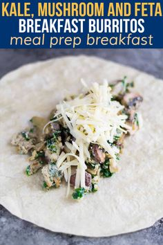 These freezer-friendly healthy breakfast burritos are packed with kale, mushrooms and feta. The perfect easy grab and go breakfast that will actually keep you full! Grab And Go Breakfast, Egg Muffins, Breakfast Burritos, Overnight Oats, Cheddar Cheese, Kale, Freezer, Feta, Meal Prep