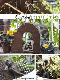 I created a miniature garden using a vintage pet carriage I found at a…