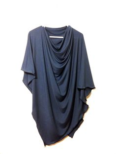 Cloudy blue nursing poncho cover, nursing shawl for full coverage in a soft blue fabric.