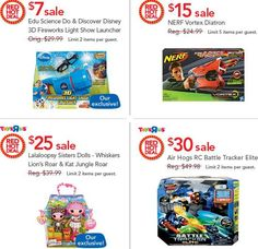 MamaCheaps.com: Toys R Us RED HOT DEALS 11/13 Only – Edu Science Disney Fireworks Launcher, NERF, LaLaLoopsy, Air Hogs