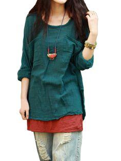 Loose Soft  Pure Color Women Pockets Vintage Blouse