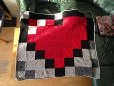 Zelda Heart Baby Pixel Crochet Blanket project by The Crafty Crusader (with pattern)