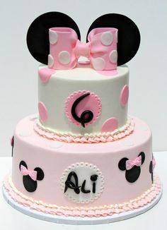 """Minnie Mouse - Minnie birthday cake, 6""""/10"""" buttercream with fondant details"""