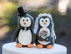 Penguin Wedding Cake Toppers by artsinhand on Etsy, $30.00