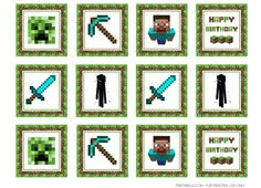 Free printable Minecraft cupcake toppers from Printabelle | Cool Mom Picks