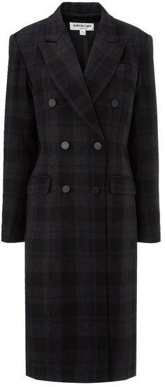 Eudon Choi Navy Check Maddox Coat