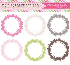 Items similar to Lace Scalloped Frames Clipart, Digital Scrapbooking Clip Art Elements, Circle Frames Clipart Set, Commercial Use OK on Etsy 1 Clipart, Clipart Design, Frame Clipart, Circle Borders, Colorful Frames, Elements Of Art, Card Tags, Embroidery Files, Scrapbook Paper