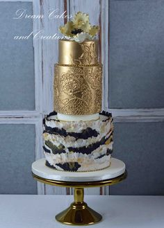 Gold and a fondant torn paper effect