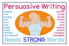 Persuasive Writing Needs Strong Words - Printable Classroom Displays - Teacher Resources :: Teacher Resources and Classroom Games :: Teach This