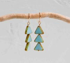 Light Blue TRIANGLE Earrings Czech Glass Geometric Bohemian
