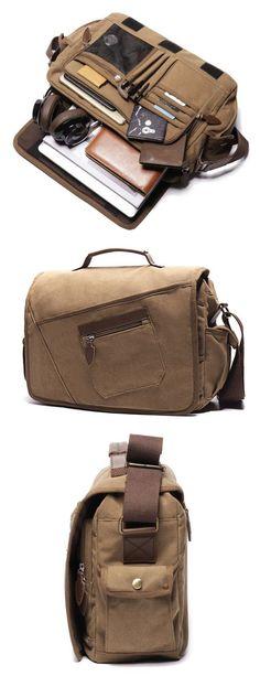 US$39.35 Ekphero Vintage Canvas Large Capacity Casual Multi-pocket Crossbody Bag For Men#bags#Crossbody Bag #mensaccessoriesdiy