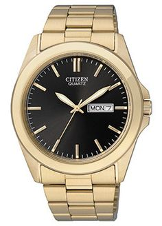 Keep it classic with Citizen's combination of black & gold. Gold plated stainless steel bracelet & case, black dial. Use discount code GET10 to receive $10 off your order. Brand: Citizen Gender: Men D