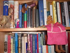 Snapshot of a bookshelf.