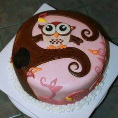 Owl Baby Shower Cake By JillofAll on CakeCentral.com