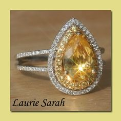 Pear Shaped Yellow Sapphire Ring with Yellow Sapphire & Diamond Double Halo -