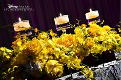 Bring the sunshine inside with bold #yellow rose centerpieces