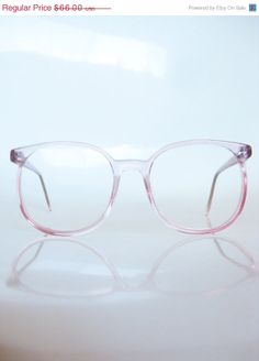 SALE 40% OFF Clear Pink Round Eyeglasses 1980s Bubblegum Light Pastel Clear See Through Circular Indie Hipster Avant Garde Oversized Deadst