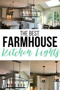 My Kitchen Renovation with Stylish Farmhouse Kitchen Lighting - Classy Mommy Farmhouse style kitchen lighting. Farmhouse Kitchen Lighting, Farmhouse Style Kitchen, Farmhouse Decor, Farmhouse Sinks, Farmhouse Furniture, Farmhouse Ideas, Rustic Decor, Modern Farmhouse, Kitchen Trends
