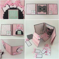 Chica foto álbum rosa y negro bebés primer año por CallMeCraftie
