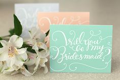 "Free printable ""Will You Be My Bridesmaid""? cards from Something Pretty"