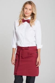 """Bistroschürze """"Boston"""" mit praktischen Taschen und 45cm Länge, erhältlich in 32 trendgen Farben auf http://www.modische-berufsbekleidung.de/"""