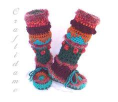 Funky Crochet Womens Slipper Boots
