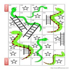 Students play a snakes and ladders board game, and make past sentences using game cards.