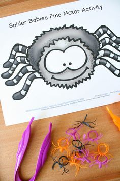 Spider Babies Fine Motor Activity with Free Printable. Halloween and Spider Theme Fine Motor Play for Preschool