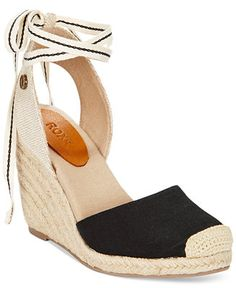 Roxy Bolsa Chicka Tie-Up Espadrille Wedges - Sandals - Shoes - Macy's