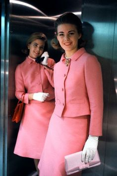 vintage fashion style color photo print ad model magazine 60s pink suit jacket skirt Vintage Flight Attendants.  pink suits 1960's