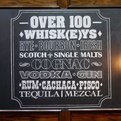 Over 100 whisk(e)ys. Chalkboard Lettering, Typography Letters, Drink Menu Design, Whisky Bar, Chalkboards, Bar Signs, Painted Signs, Alcohol, Cricut