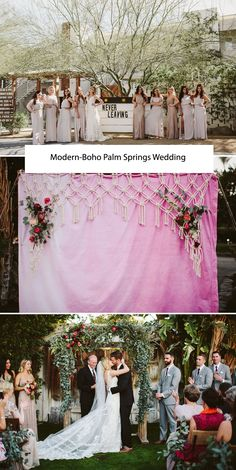 Modern-Boho Palm Springs Wedding with pretty maids + lots of florals!