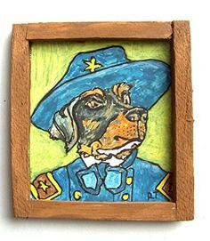 OOAK 1/12 Escala Casa De Muñecas Miniatura Pintura - ' Perros de Guerra ' - Rottweiler Pintura - General Rottweiler Custer