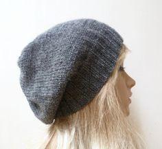 Women Wool Alpaca Hand Knitted Slouchy Beanie Hat, Dark Grey Knitted Women Slouch Beanie, Choose Colour, ClickClackKnits by Clickclackknits on Etsy #PromotingWomen