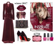 """""""Untitled #432"""" by maricelmartinez on Polyvore featuring Carolina Herrera, Valentino, Christian Louboutin, Gucci, Lime Crime and OPI"""