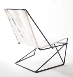 Josef Lang, of Many Hands Design, crafted a cantilevered chair, named CR45, constructed from high carbon steel and sash cord. Both the name and design were inspired by a cantilevered rod (CR), which is the most striking characteristic of the chair.