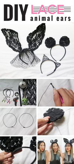 Be the most stylish cat, bunny or mouse at the Halloween party this year with the perfect and customizable black lace ears! You'll be surprised how easy these are to DIY http://www.ehow.com/how_12340908_make-lace-animal-ears.html?utm_source=pinterest.com&utm_medium=referral&utm_content=freestyle&utm_campaign=fanpage