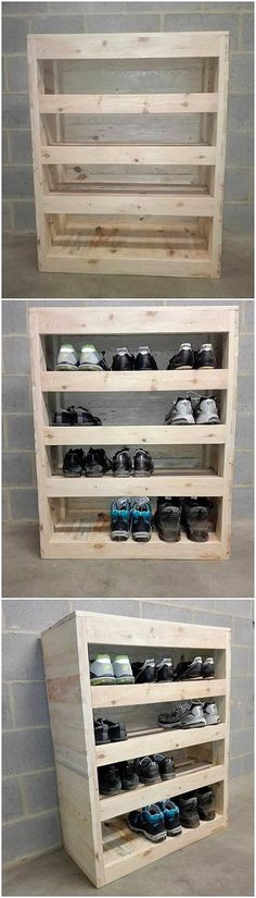 Straight away into this wood pallet creation of furniture piece, you will view the moderate size of shoe rack artwork where the enrollment of different portions of the shelving unit divisions being amazing stroked out. It is rather simple in designing but at the end of the day it can turn out to be useful.