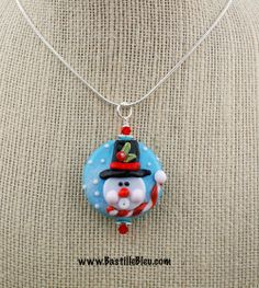 Whistling Snowman Necklace - BBL Handcrafted Lampwork Glass Beads SRA