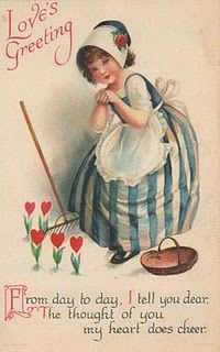 Valentine - You could easily use an antique card like this and quill the hearts and leaves to make it pop! Valentine Images, My Funny Valentine, Valentines Greetings, Vintage Valentine Cards, Saint Valentine, Vintage Greeting Cards, Vintage Holiday, Valentine Heart, Valentine Day Cards