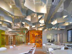 exposed ceiling + sculptural light baffles  [FIDM San Diego Campus - 2011 AIA Institute Honor Award for Interior Architecture Recipient]