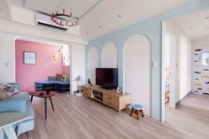 Apartment, Enchating Living Room In Tampa Apartments With Soft Blue Wallpaper: Several Aspect You Must Know About Tampa Apartments